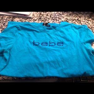 BEBE blue w/ jewel accent stretchy T-shirt Sz. M/L